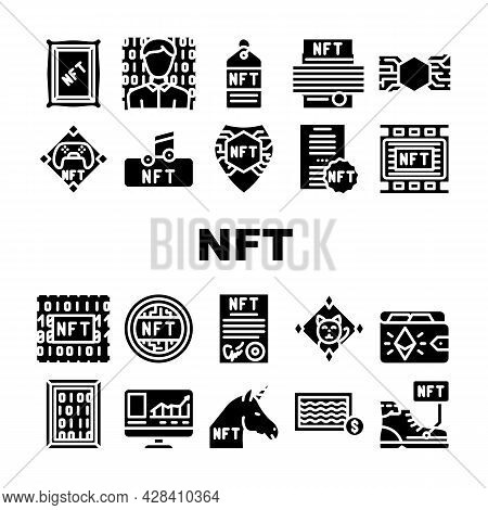 Nft Digital Technology Collection Icons Set Vector. Nft Cryptocurrency Coin And Blockchain, Payment