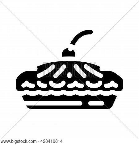 Pie With Cherry Berry Dessert Glyph Icon Vector. Pie With Cherry Berry Dessert Sign. Isolated Contou