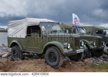 Kronstadt, Russia - September 04, 2016: Soviet Four-wheel Drive Cars Of Gaz-69 On The International