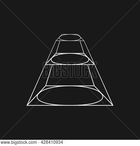 Retrofuturistic Perspective Of A Prism With Circular Planes. Cyber Retro Design Element. Prism In Cy