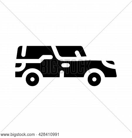 Funeral Hearse Glyph Icon Vector. Funeral Hearse Sign. Isolated Contour Symbol Black Illustration