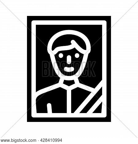 Portrait With Funeral Ribbon Glyph Icon Vector. Portrait With Funeral Ribbon Sign. Isolated Contour