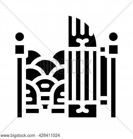Entrance Gate To Cemetery Glyph Icon Vector. Entrance Gate To Cemetery Sign. Isolated Contour Symbol