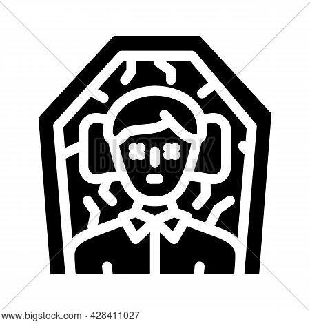 Dead Man In Coffin Glyph Icon Vector. Dead Man In Coffin Sign. Isolated Contour Symbol Black Illustr