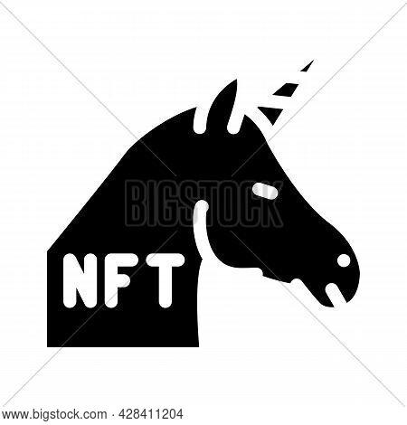 Nft Unicorn Glyph Icon Vector. Nft Unicorn Sign. Isolated Contour Symbol Black Illustration