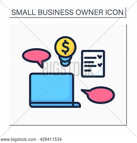 Laptop Color Icon. Coaching. Checklist. Equipment For Coach. Online Courses. Small Business Owner Co