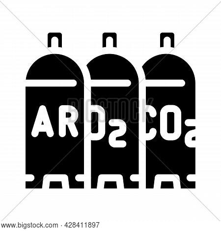 Welding Gases Argon, Oxygen, Carbon Dioxide Glyph Icon Vector. Welding Gases Argon, Oxygen, Carbon D
