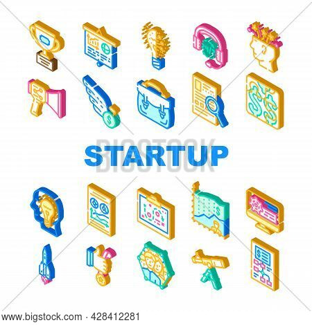 Startup Business Work Collection Icons Set Vector. Researching Market And Analyzing Price For Startu