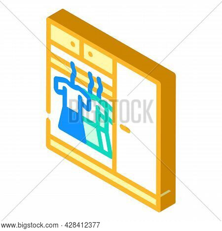Wardrobe With Clothes Isometric Icon Vector. Wardrobe With Clothes Sign. Isolated Symbol Illustratio