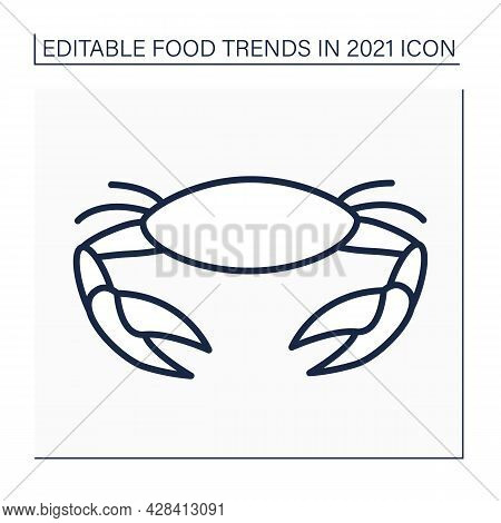 Crab Line Icon. Seafood Boils. Asian Traditional Season Dish. Food Trends Concept. Isolated Vector I