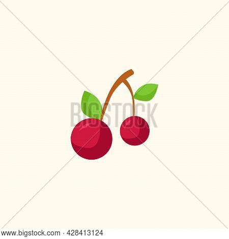 Cherries Clipart. Cherries Simple Vector Clipart. Cherries Isolated Clipart.