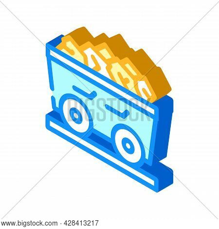 Coal Cart Isometric Icon Vector. Coal Cart Sign. Isolated Symbol Illustration