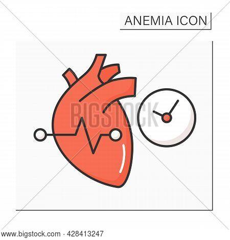 Anemia Color Icon. Disease Symptoms. Irregular Heartbeats. Abnormal Heart Rhythm. Health Protection