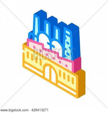 Power Plant Infrastructure Isometric Icon Vector. Power Plant Infrastructure Sign. Isolated Symbol I