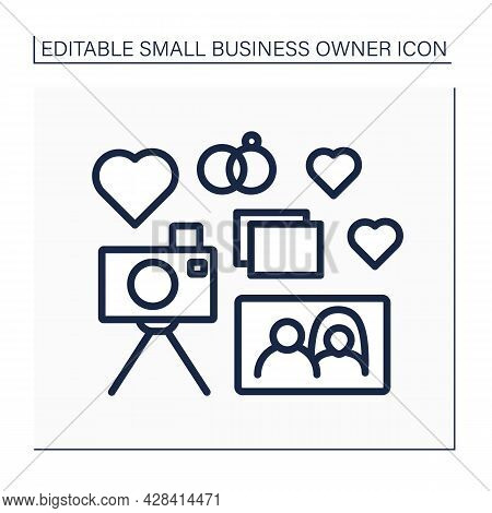 Photographer Line Icon. Wedding Day Photography. Take Photos Of Important Holidays. Camera, Pictures