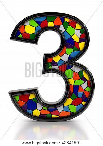 Number 3 symbol with multicolored mosaic tiles, isolated on white background.