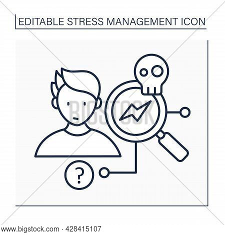 Stress Source Line Icon. Identify Stressful Situation Reasons. Determine Major Stressors.mental Heal