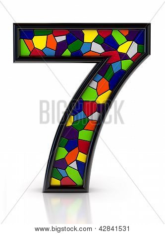Number 7 symbol with multicolored mosaic tiles, isolated on white background.