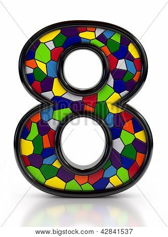 Number 8 symbol with multicolored mosaic tiles, isolated on white background.