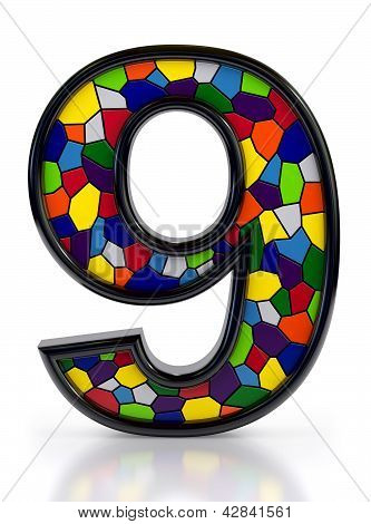 Number 9 symbol with multicolored mosaic tiles, isolated on white background.