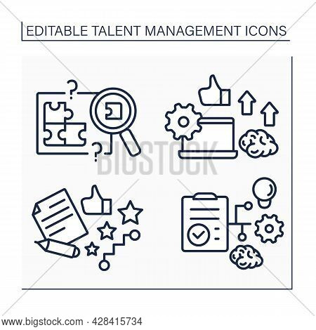 Talent Management Line Icons Set. Skill Gap Analysis, Employee Potential, Career And Workforce Plann