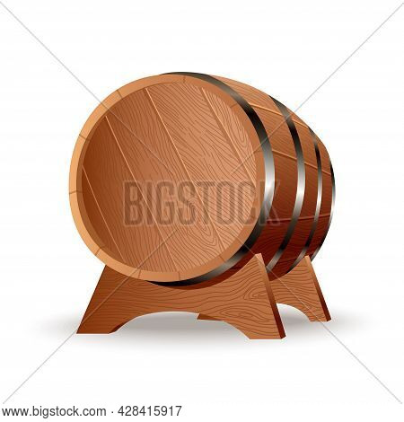 Realistic Wooden Barrel. Isolated Oak Cask With Timber Body With Iron Rings On The Stand. Vector Rea