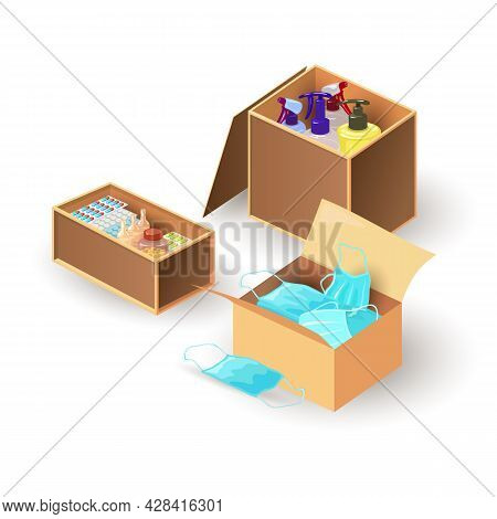 Cartoon Cardboard Boxes With Face Masks, Cleaning Supplies, Medications. Vector Disinfection, Medica