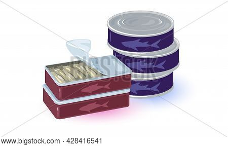 Cartoon Canned Seafood Products In Tin, Preservation. Vector Tasty Fat Protein Meal, Premium Quality