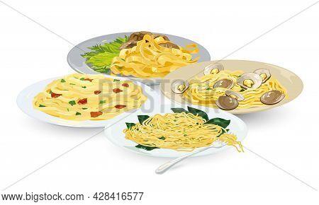 Cartoon Set Of Spaghetti Carbonara, Tagliatelle, Aglio Olio And Alle Vongole. Vector Restaurant Pres