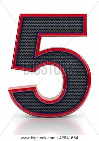 Number 5 symbol with grille mesh inside isolated on white background.