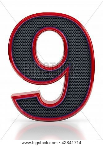 Number 9 symbol with grille mesh inside isolated on white background.