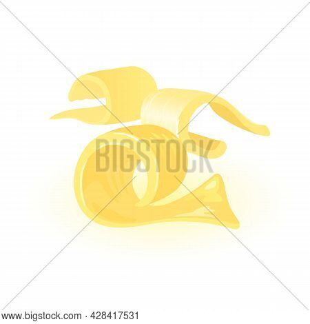 Yellow Milky Margarine, Dairy Produce, Paste Spread For Lunch. Vector Baking And Cooking Ingredient,