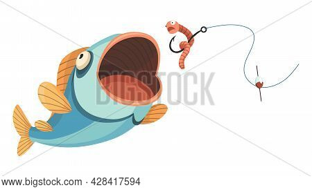 Fish Catch. Cartoon Fish Catching The Fishing Lure. Jumping To Catch A Bait. Sports Hobby. Fishing O