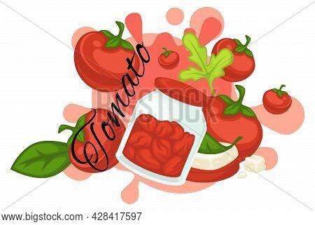 Tomato Veggies Preserved In Jar, Tasty Food Dish