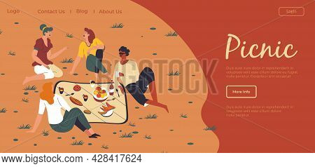 Friends Gathered On Picnic Outdoors Website Page