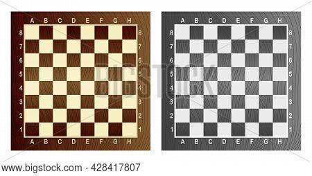 Two Empty Chess Board. Concept Of Graphic Vector Illustration. Art Design Checkered, Checkerboard Or