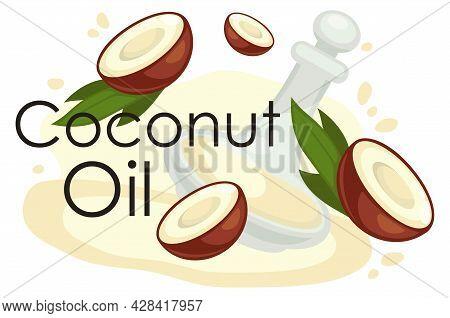 Coconut Oil, Fat Oily Liquid With Vitamins Vector