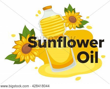 Sunflower Oil, Oily Liquid Used For Cooking Vector