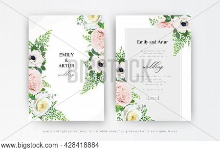 Floral Wedding Invitation, Invite, Save The Date Cards Set. Dusty Pink And Light Yellow Roses, White