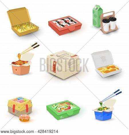 Cartoon Collection Of Different Types Of Food In Packages, Take Away Meal, Fast Food. Vector Quick L