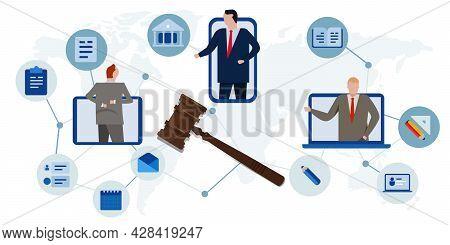 Online Legislation Court Legal Advice Consultant Using Internet Communication Global Advice Symbol O