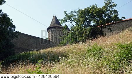 View Of The Fortifications With The Tower Of The Castle Helfstyn In The Czech Republic.