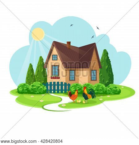 Cozy Country House With Front Garden, Trees And Lawn. Rooster, Hen And Small Chickens In The Foregro