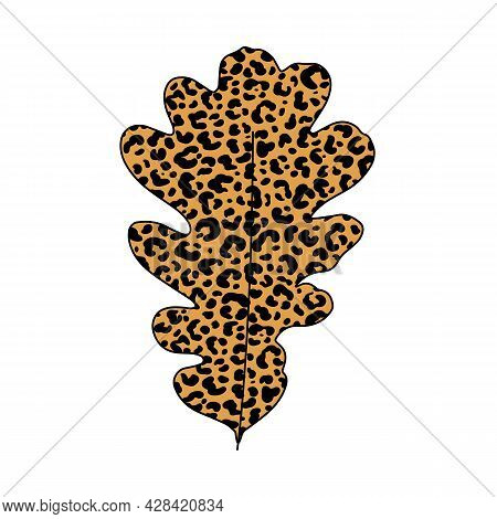 Vector Illustration Of Autumn Oak Leaf With Leopard Print Pattern Isolated On White Background. Fall
