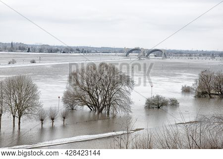 High Water In The Rhine. High Water In The Rhine During The Winter.