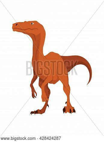 T-rex Dinosaur Flat Icon. Colored Isolated Prehistoric Reptile Monster On White Background. Vector C
