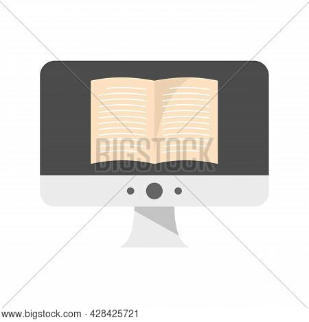 Computer Ebook Icon. Flat Illustration Of Computer Ebook Vector Icon Isolated On White Background