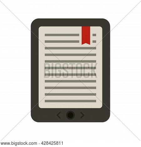 Mobile Ebook Icon. Flat Illustration Of Mobile Ebook Vector Icon Isolated On White Background