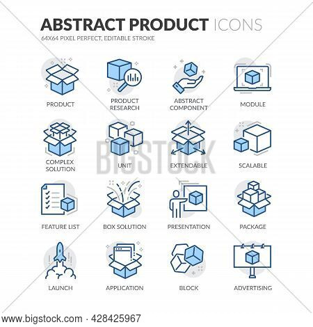 Simple Set Of Abstract Product Related Vector Line Icons. Contains Such Icons As Product Research, M