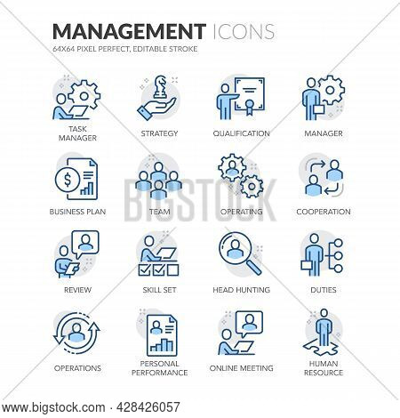 Simple Set Of People Management Related Vector Line Icons. Contains Such Icons As Task Manager, Qual